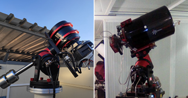 Veloce 200 AT wide-field affiliate remote telescope additions AFIL-5 located in Hakos, Namibia (left) and AFIL-6 hosted at AstroCamp in Nerpio, Spain (right).