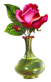 rose pink flower vase shabby chic floral digital clipart