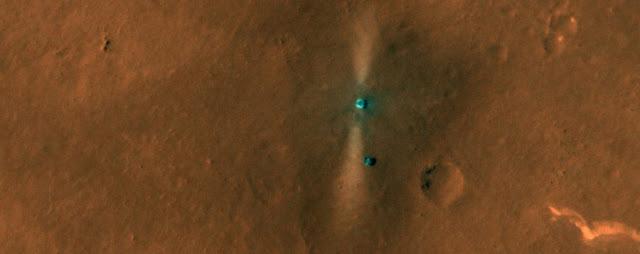 Imagem feita pelo orbitador MRO mostra Zhurong na superfície de Marte