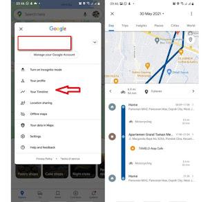 fitur timeline pada google maps