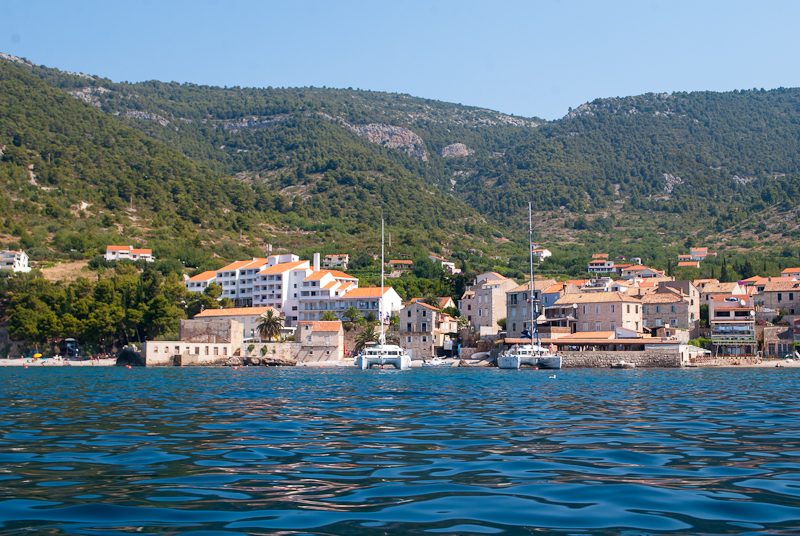 view and image of vis from the sea croatia