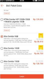 belanja online di shopee - paket xtra combo 5gb
