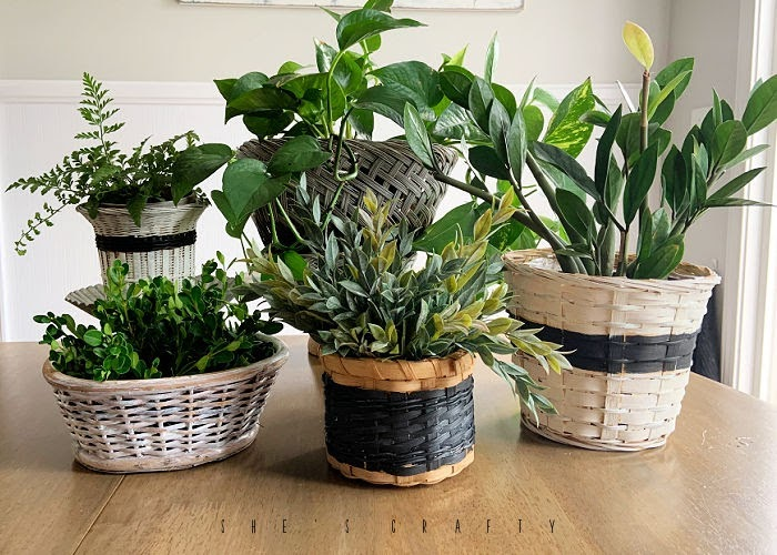 diy christmas gifts - wicker basket planters