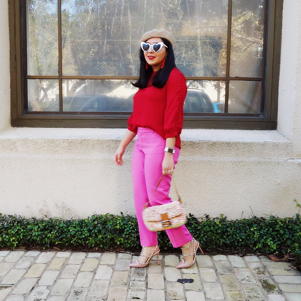 Pink and Red outfit, pink pants, red top, pink pants and red top
