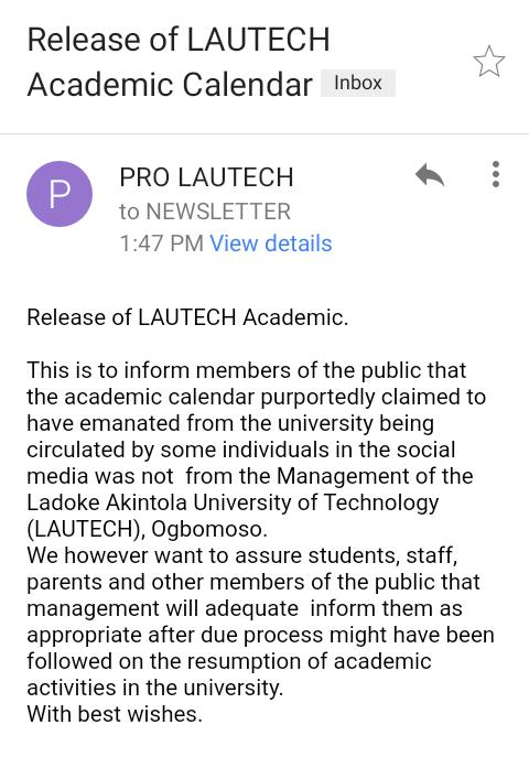 Just in! LAUTECH releases updates on the academic Calendar