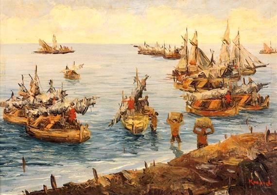 ilustrasi bongkar muat komoditas di pelabuhan Nusantara
