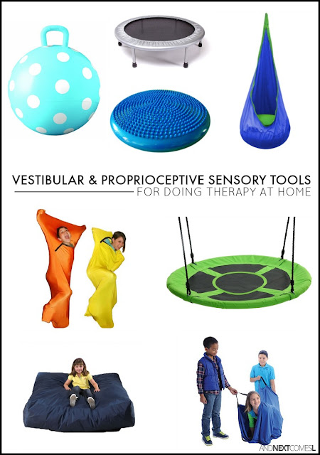 Our must have sensory therapy tools and toys for doing therapy at home with kids who have autism or sensory processing disorder from And Next Comes L