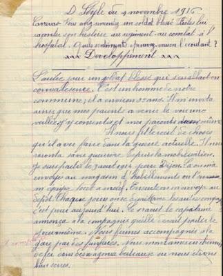 Cahier de devoirs Alfa de Tunisie, élève Eugène L., Saint-Didier s/Chalaronne, 1916
