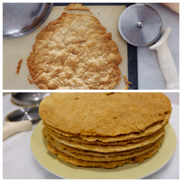 baked pastry pieces before trimming and after