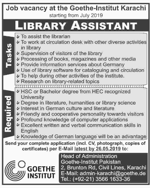 ➨ #Jobs - #Career_Opportunities - #Jobs -  at Goethe-Institute Karachi–for application visit the link