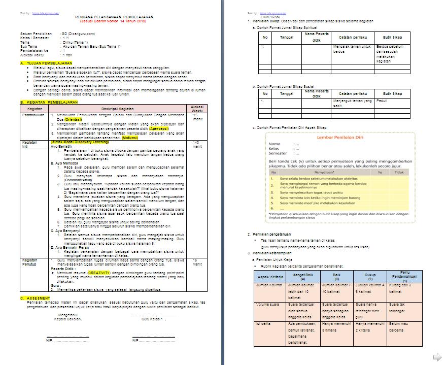 Rpp 1 Lembar Kelas 1 Sd Mi Tema 1 Diriku Antapedia Com