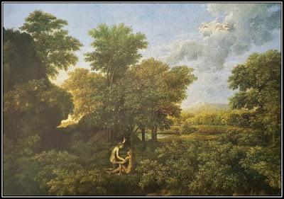 Πίνακας του Nicolas Poussin που απεικονίζει ένα καταπράσινο τοπίο με ένα καθισμένο ζευγάρι στο γρασίδι