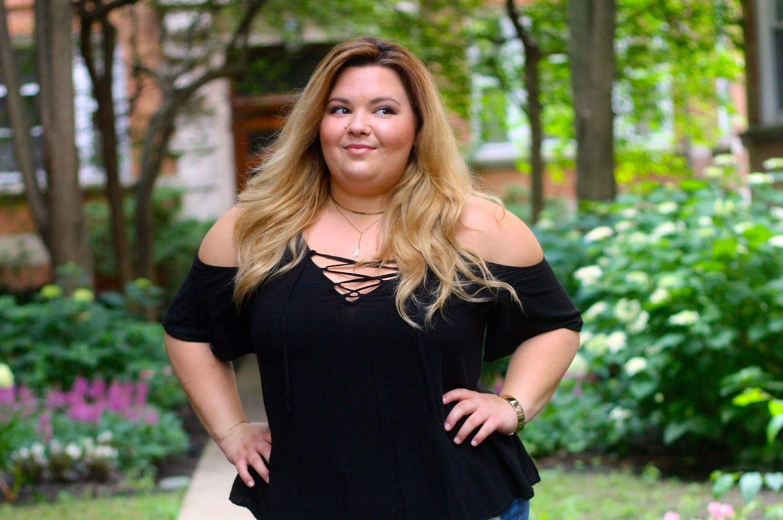 lace up criss cross blouse plus size, natalie craig, fashion blogger, plus size fashion blogger, chicago blogger, natalie in the city, psfashion, full figure, fatshion, plus size denim shorts, franco sarto lace up sandals, chocker necklace duo