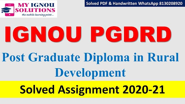IGNOU PGDRD Solved Assignment   2020-21