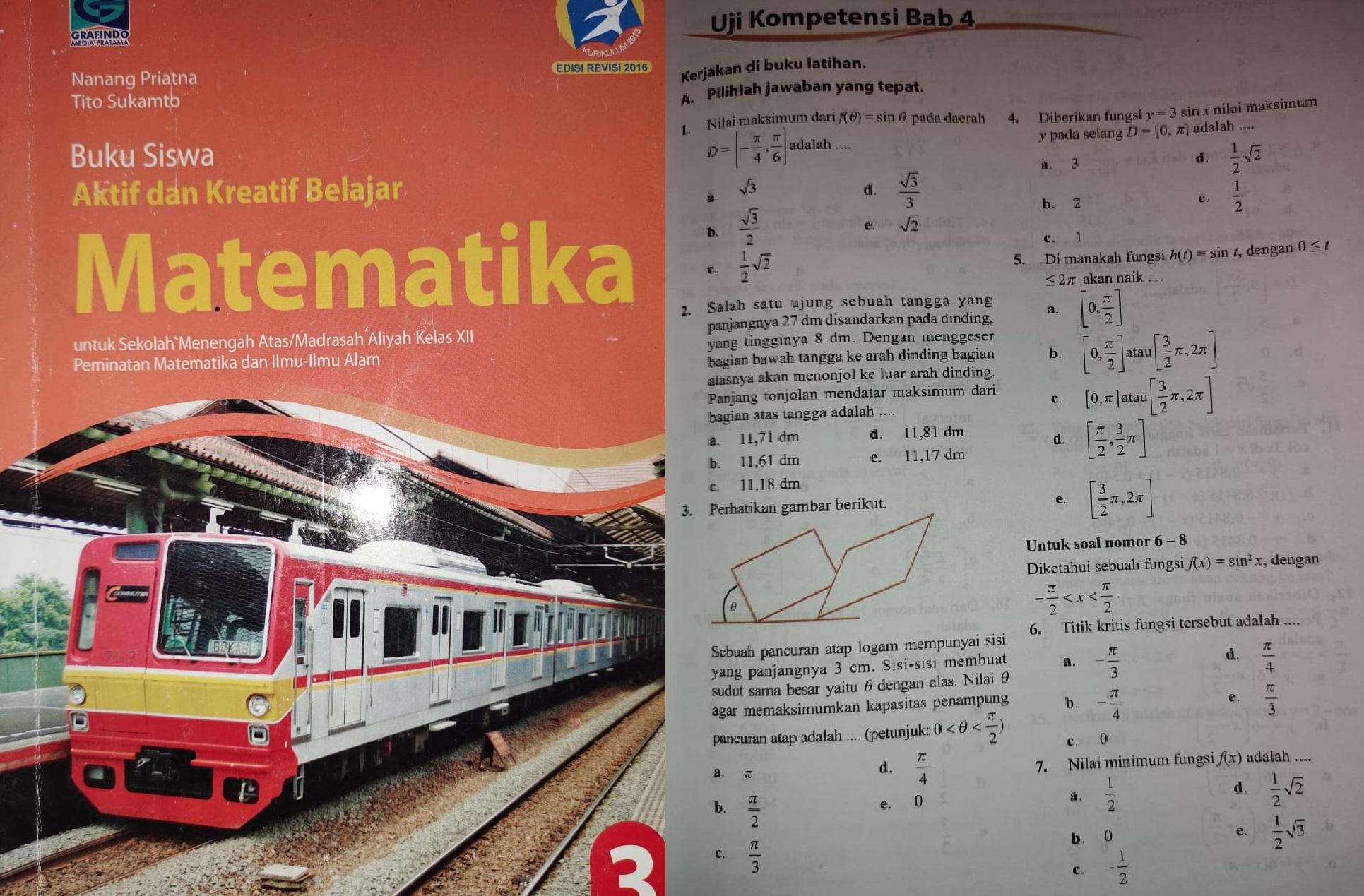 Soal dan Pembahasan Turunan Fungsi Trigonometri (*Sumber Soal Uji Kompetensi Buku Matematika Peminatan Kelas XII)