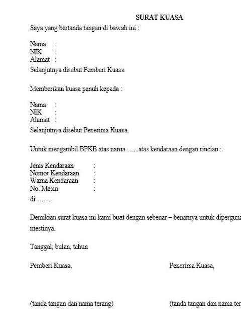 Contoh Surat Kuasa Pengambilan BPKB (via: otosia.com)