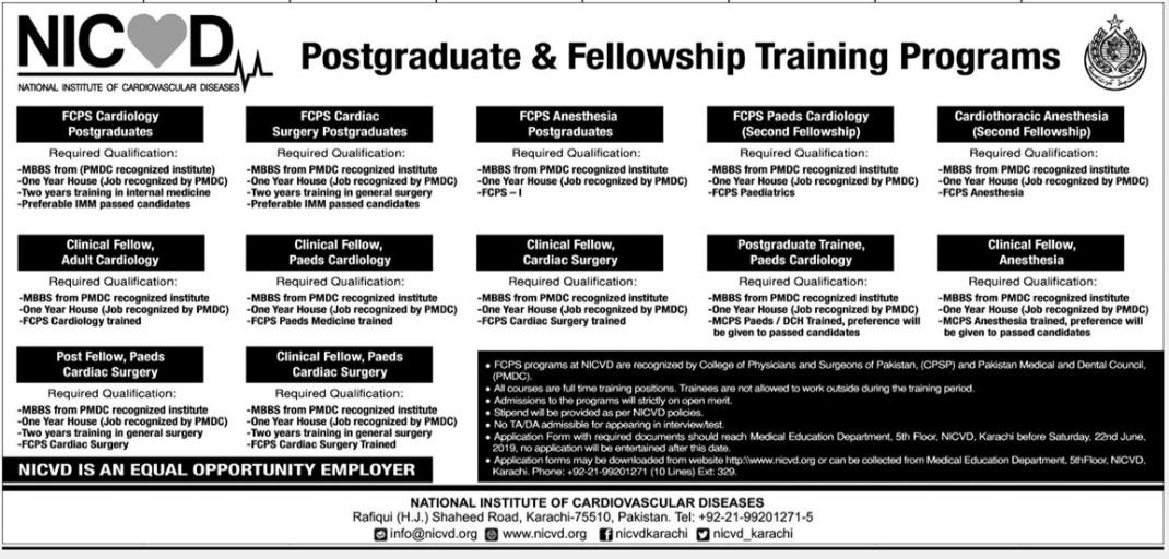 National Institute Of Cardiovascular Diseases NICVD Postgraduate Fellowship Training Programs June 2019