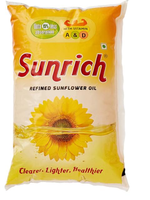 Sunrich Sunflower Oil Pouch, 1L