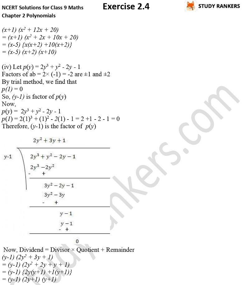 NCERT Solutions for Class 9 Maths Chapter 2 Polynomials Exercise 2.4 Part 6