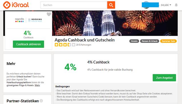 Кешбек для Agoda на сайте Igraal 4%