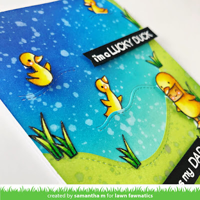 Lucky Duck Father's Day Card by Samantha Mann for Lawn Fawnatics Challenge, Spring Mood Board, Distress Inks, Lawn Fawn, Ink Blending, Card Making, DIY Cards, Handmade Cards, Father's Day Card, #lawnfawnaticschallenge #lawnfawnatics #lawnfawn #fathersday #ducks #cardmaking