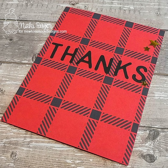 Thank You Card by Nakaba Rager | Plaid Stencil Set and Essential Alphabet Die Set by Newton's Nook Designs #newtonsnook #handmade
