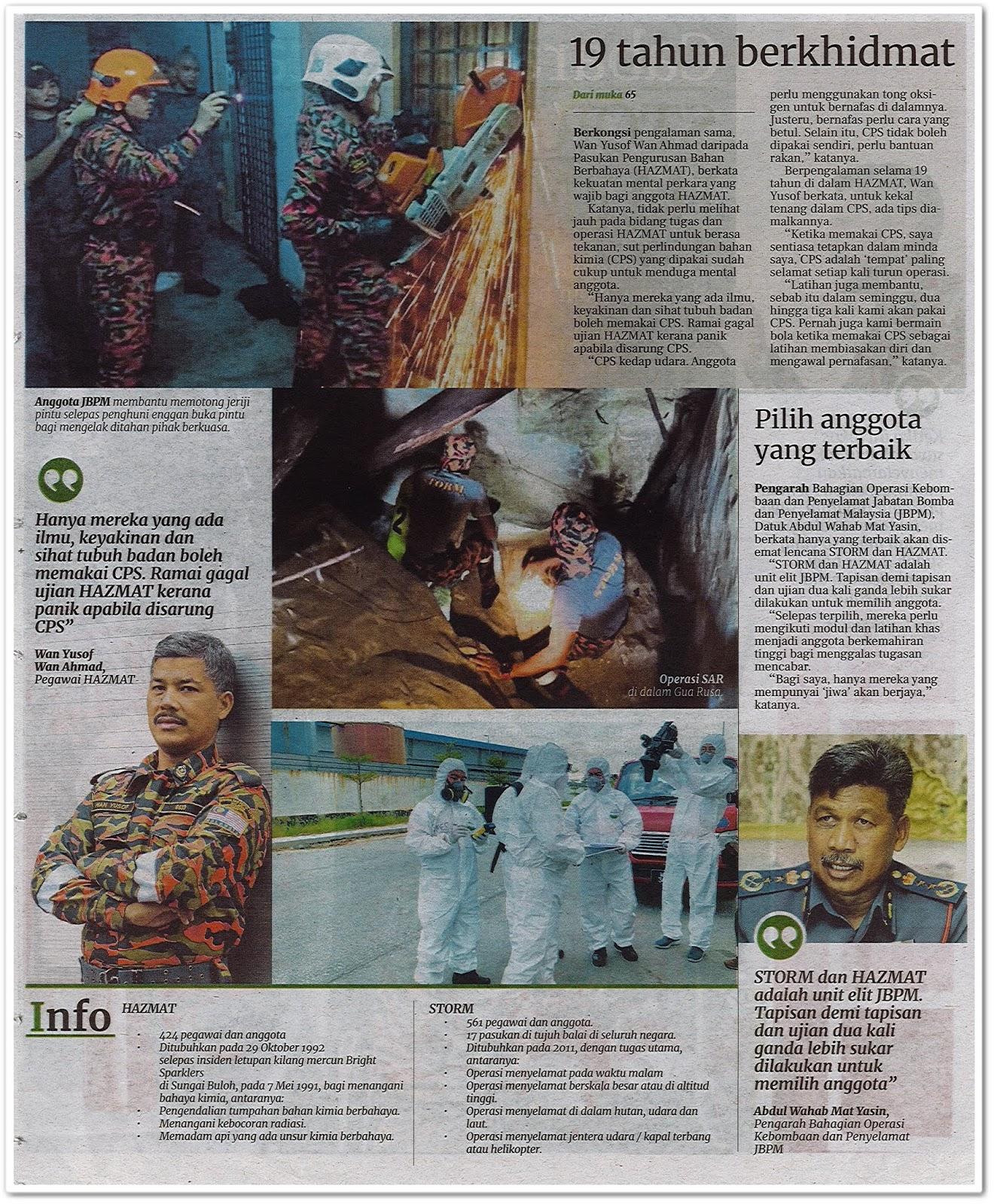 Jiwa kental sang penyelamat - Keratan akhbar Berita Harian 20 Julai 2019