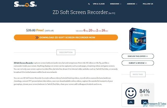 Offre promotionnelle : ZD Soft Screen Recorder à nouveau gratuit !