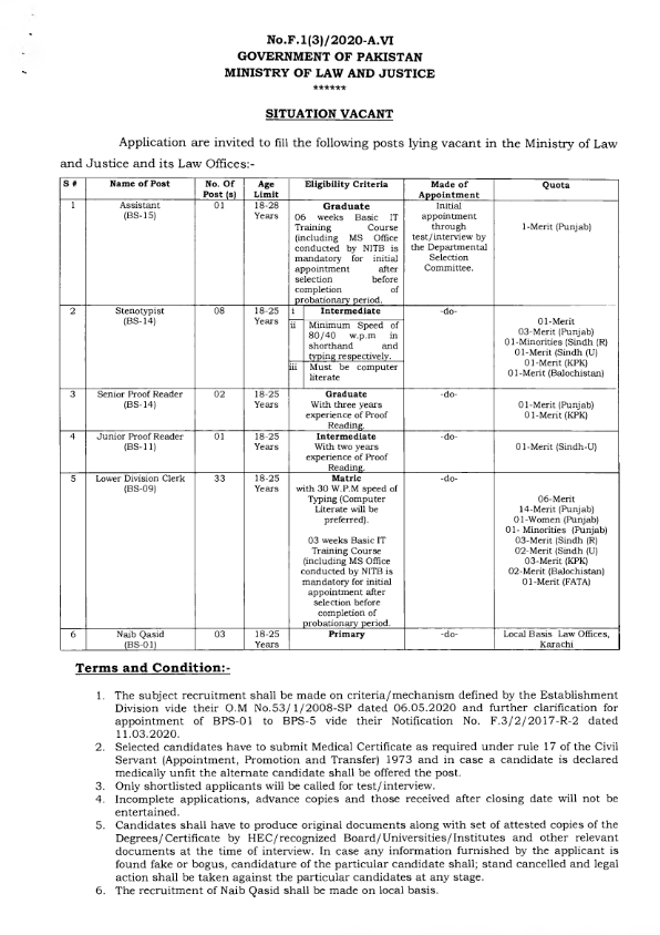 Ministry of Law and Justice Jobs 2020 July