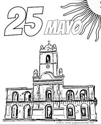 dibujos 25 mayo Argentina colorear