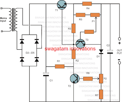 simple variable power supply circuit using BJTs