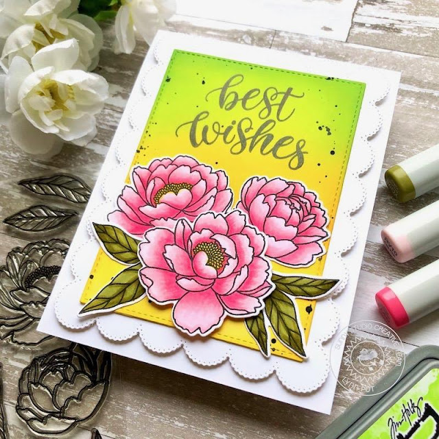 Sunny Studio Stamps: Pink Peonies Frilly Frame Dies Birthday Card by Lynn Put