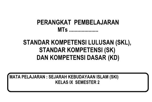 SKL SKI Kurikulum 2013 Revisi Kelas 9 Semester 1 dan 2