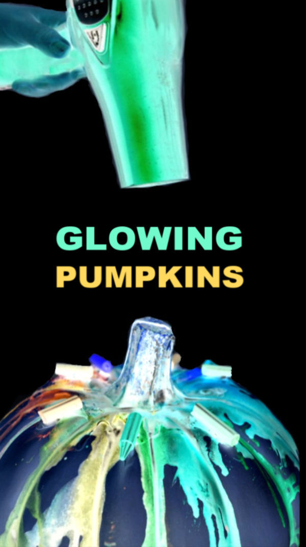 Skip the carving this Halloween and make melted crayon pumpkins instead!  These pumpkins glow-in-the-dark, making them a super fun craft for kids! #glowingpumpkins #glowingpumpkinart #glowingpumpkincraft #glowingcrafts #glowingcraftsforkids #meltedcrayonart #meltedcrayonpumpkin #meltedcrayoncrafts #glowinthedarkpumpkins #pumpkindecorating #nocarvepumpkins #neonpumpkins #growingajeweledrose #activitiesforkids