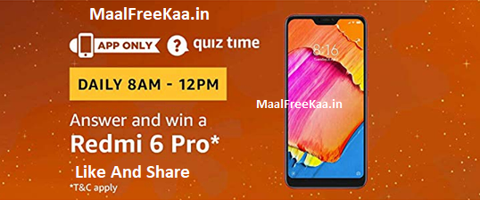 Amazon Quiz Time Answers for 20th February 2019 - Win Redmi