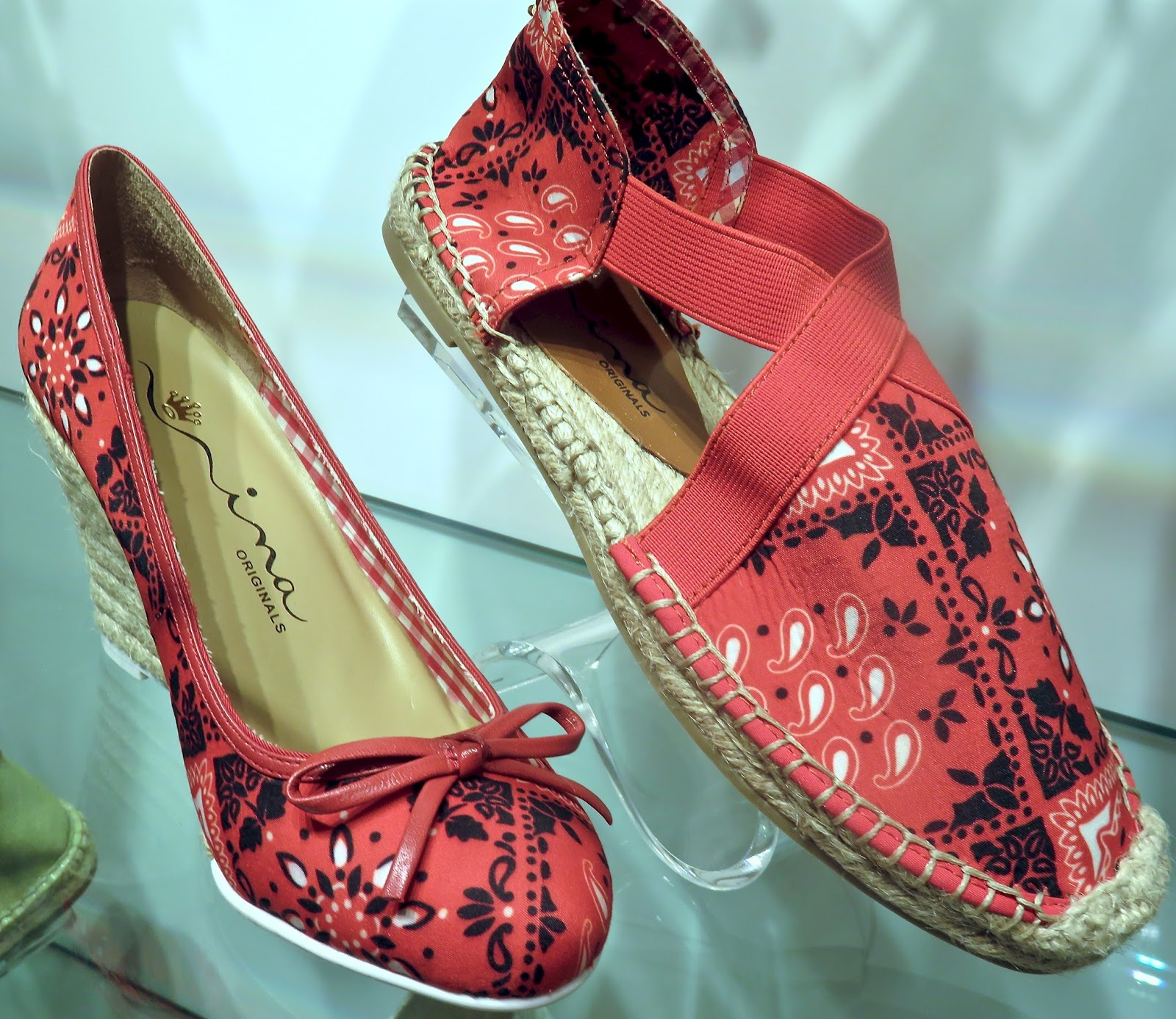 a3ef6a0f958 all American bandana---uppers-in a MURIEL wedge and flat with summery  espadrille- raffia details