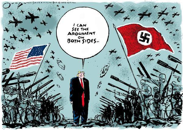 Donald Trump, standing between advancing lines of American and Nazi troops in WWII uniforms, saying,