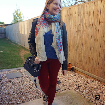 awayfromblue Instagram | winter leather jacket burgundy skinny jeans outfit with cobalt knit colourful scarf and micro bedford bag