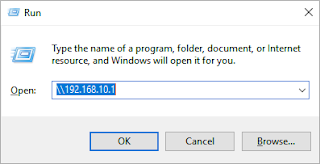 Mengetik ip server di aplikasi run windows