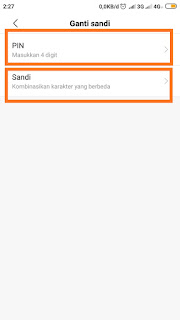Pilih pin atau password aplikasi xiaomi