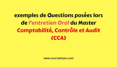 Exemples de Questions de l'entretien Oral du Master CCA
