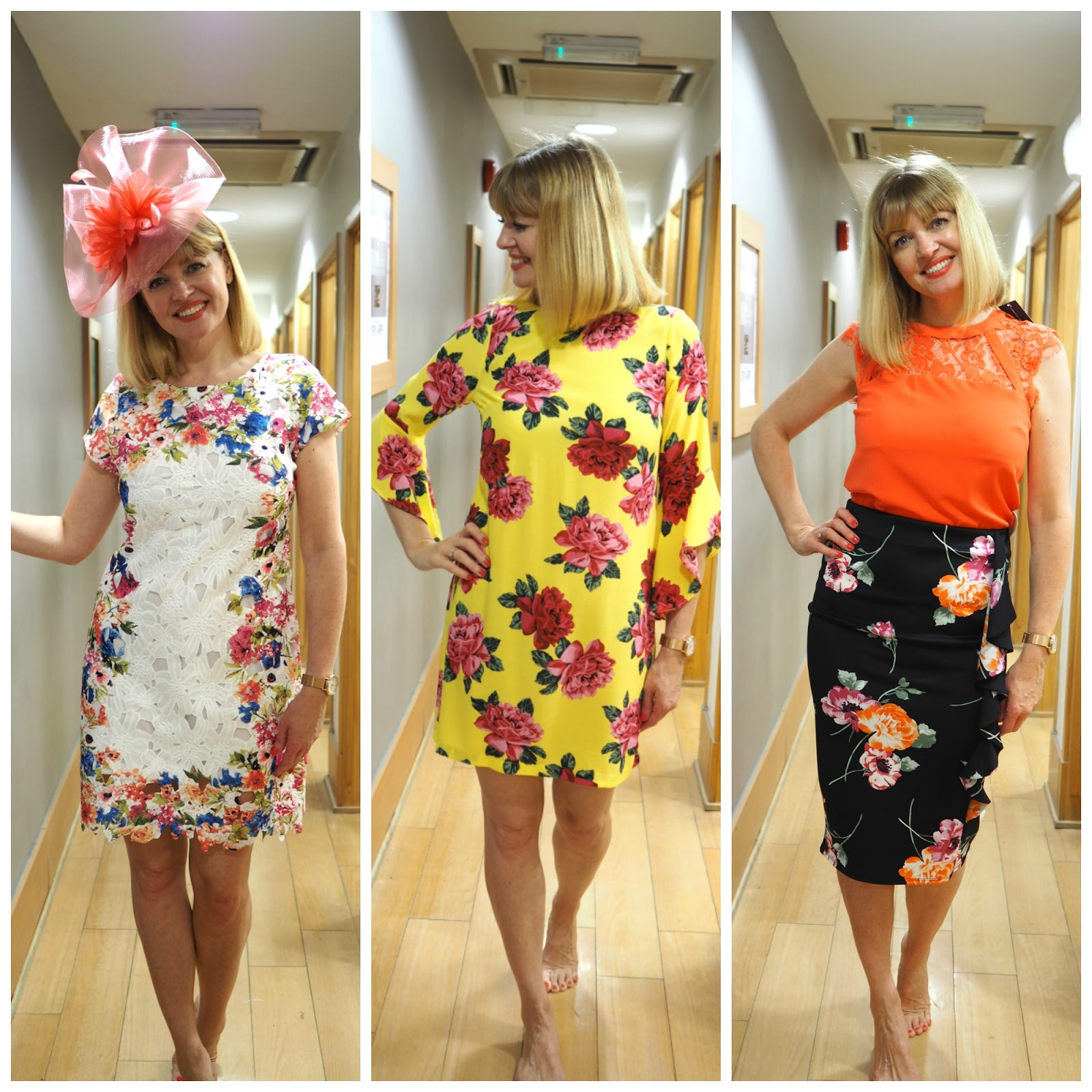 What to wear for York Races, Outfit Floral dresses, coral orange fascinator over 40