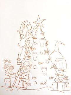 Croquis préparatoires pour la création d'une carte postale pour l'irish pub Black Shelter à Carquefou. ©Guillaume Néel
