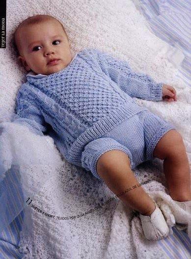 conjunto de sueter y bombachon para bebe para tejer dos agujas