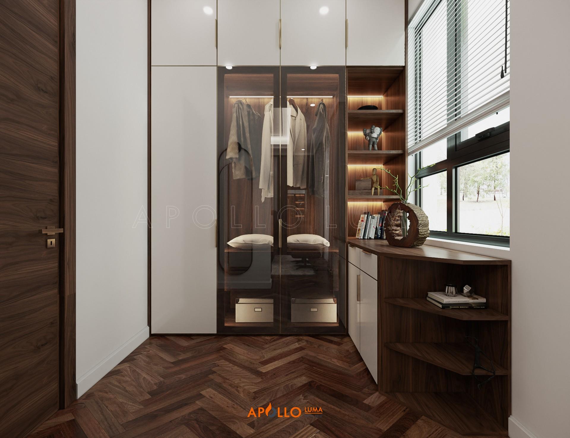 Thiết kế nội thất phòng ngủ gỗ Óc chó sang trọng