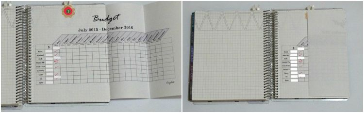 Budget section of planner