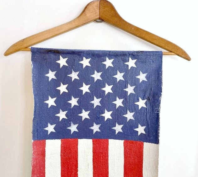 American flag hanging from a hanger