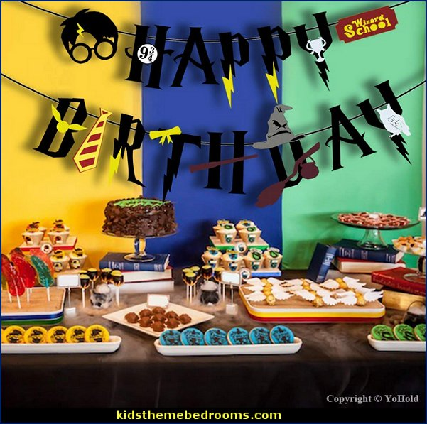 Harry Potter Happy Birthday Felt Banner and Lightning Bolt Tattoos for Harry Potter, Halloween, St Patrick's Day Theme Party Decorations