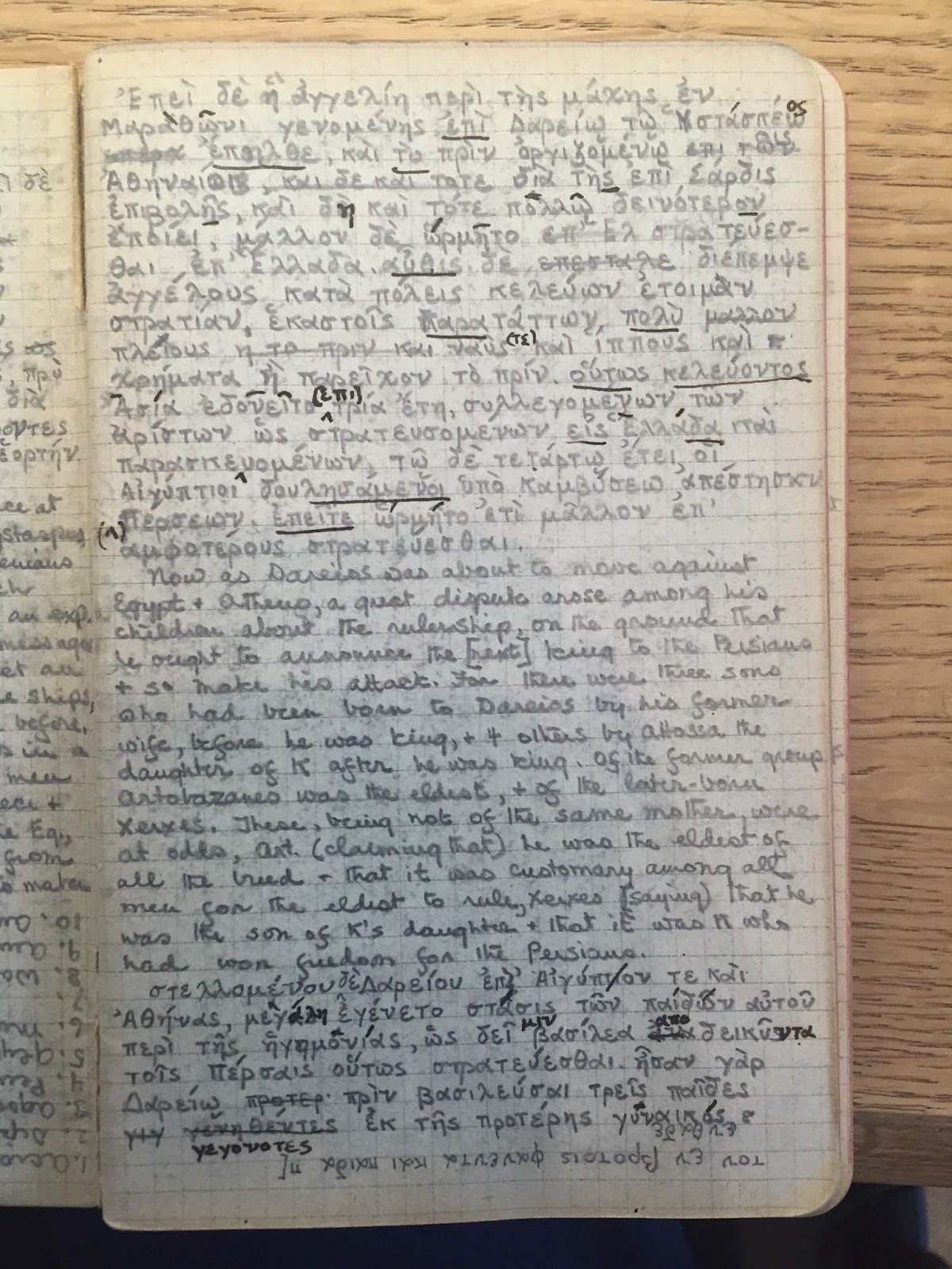 A page of ruled paper, filled with Greek and English notes.