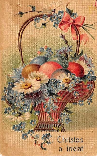 felicitare Paste vintage Romania Christos a inviat cos cu flori si oua